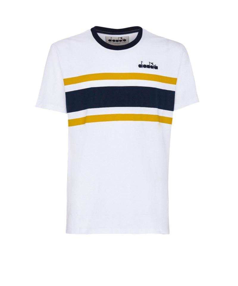 Diadora T-Shirt Tee SL Weiss Blau C7011 - weiss