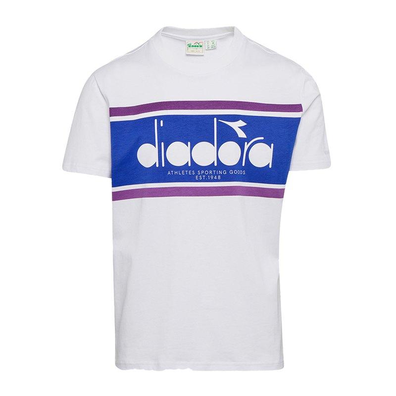 Diadora Tee T-Shirt Spectra Weiss Blau C7321 - weiss