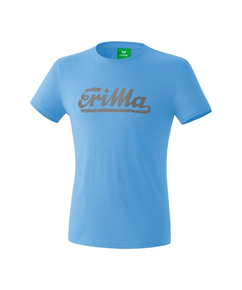 Erima Retro T-Shirt Hellblau Weiss - blau