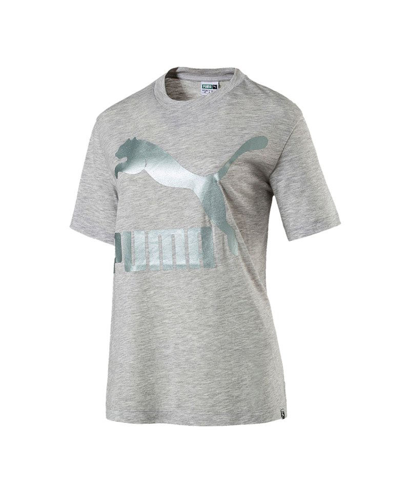 PUMA Classics Logo Tee T-Shirt Damen Grau F04 - grau