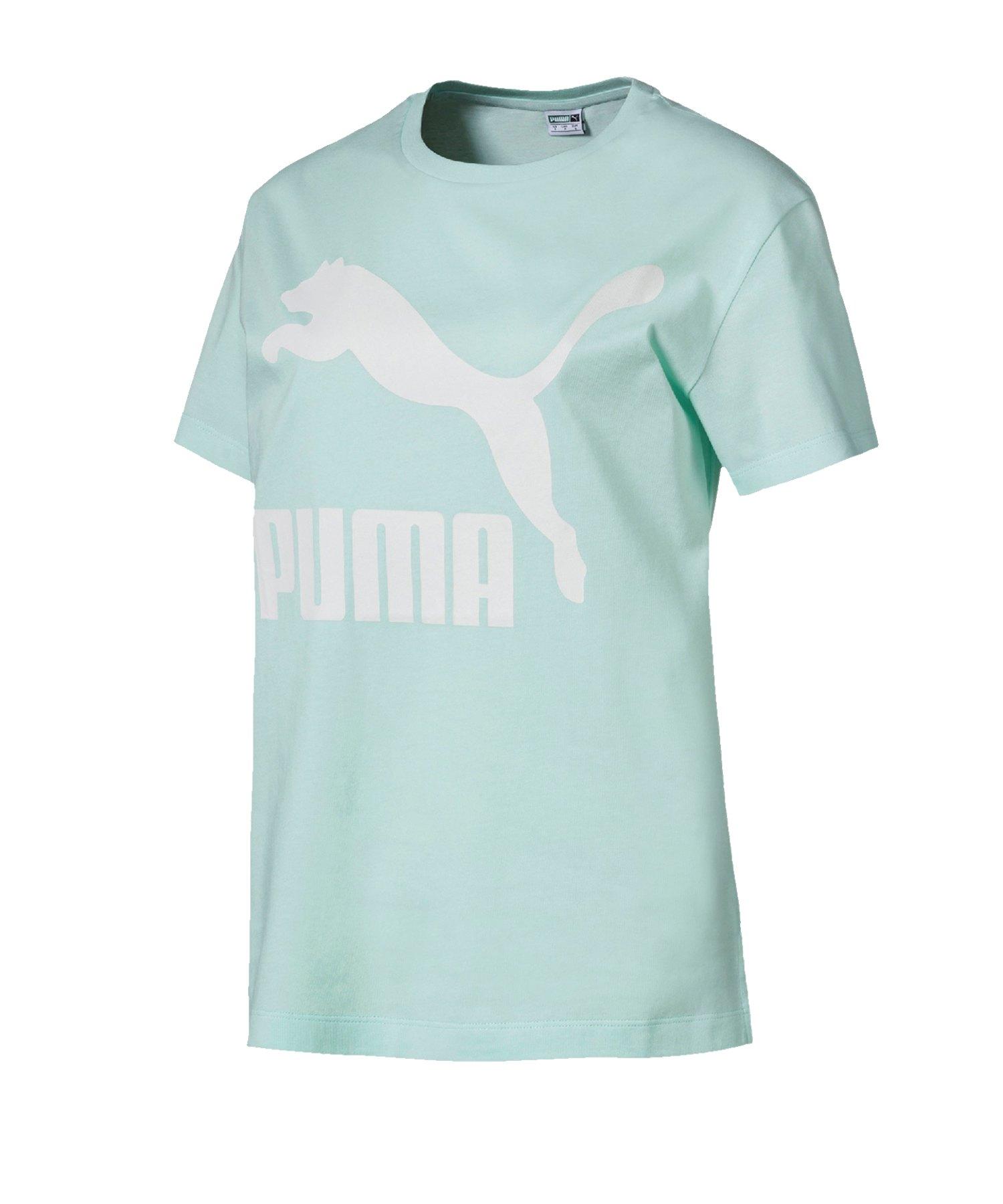 PUMA Classics Logo Tee T-Shirt Damen Blau F34 - blau