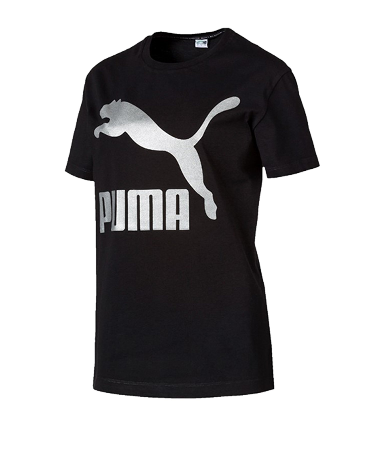 PUMA Classics Logo Tee T-Shirt Damen Schwarz F01 - schwarz