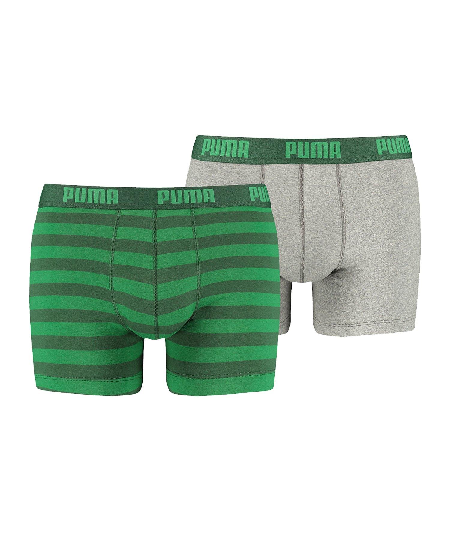 PUMA Stripe Boxer 2er Pack Mens Grün F327 - gruen