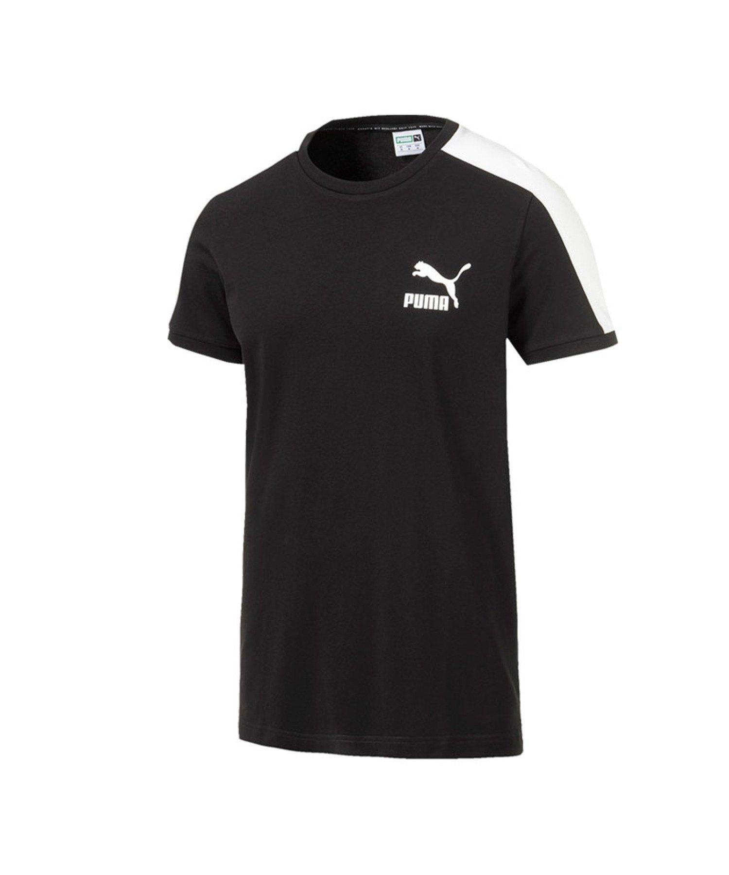 PUMA Iconic T7 T-Shirt Slim Fit Schwarz F01 - Schwarz