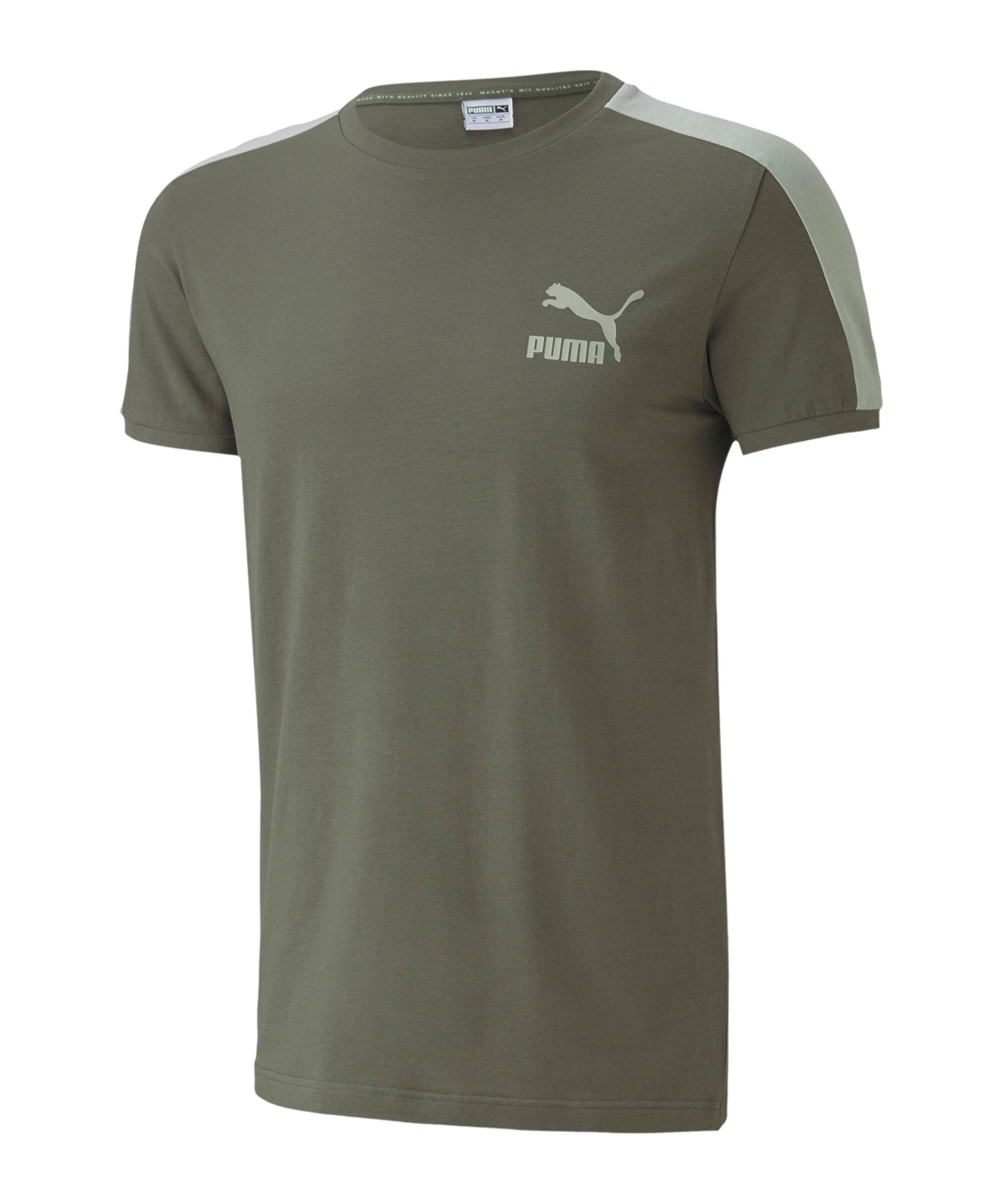 PUMA Iconic T7 Slim Tee T-Shirt Grün F64 - gruen