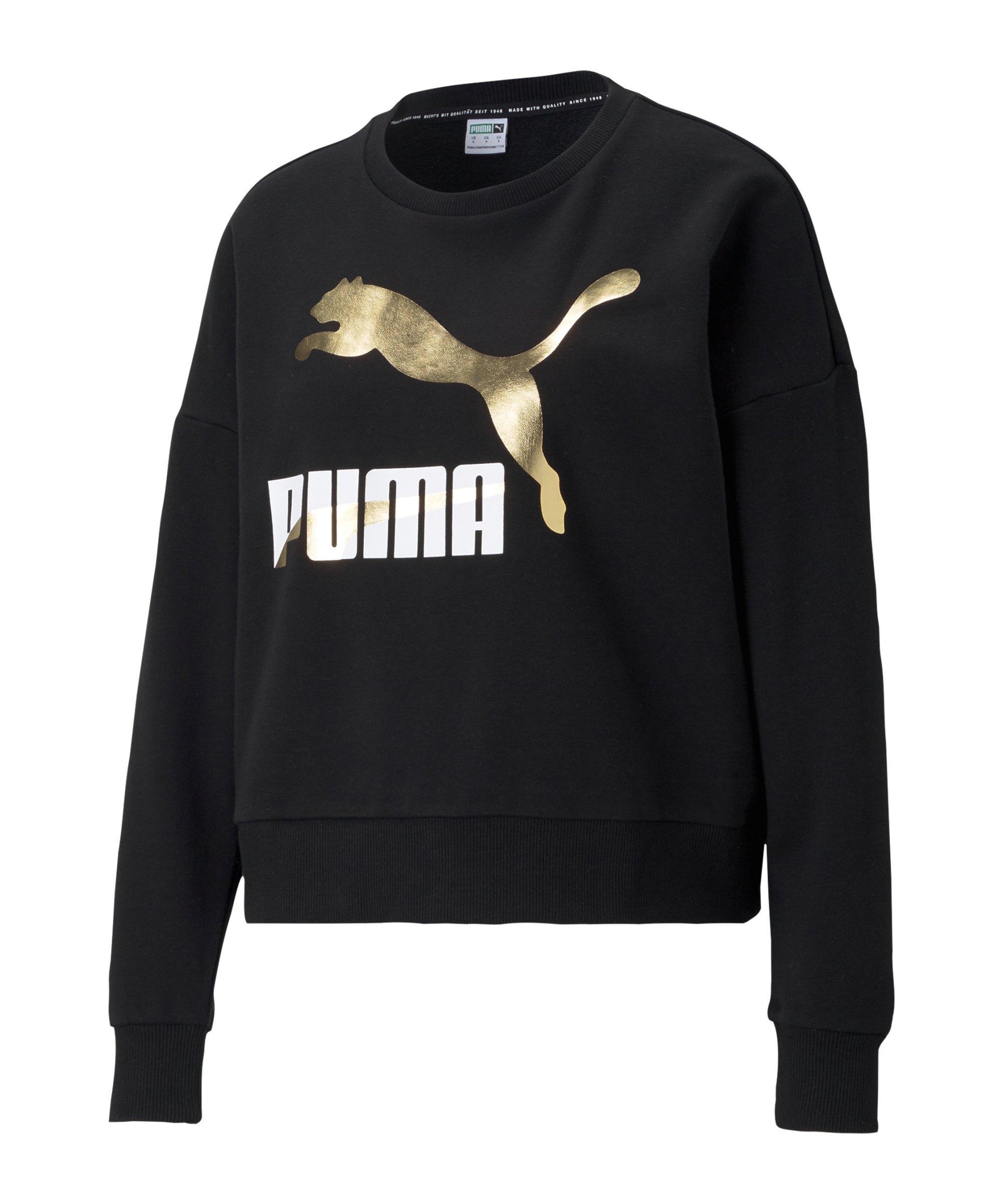 PUMA Classics Logo Crew Sweatshirt Damen F51 - schwarz