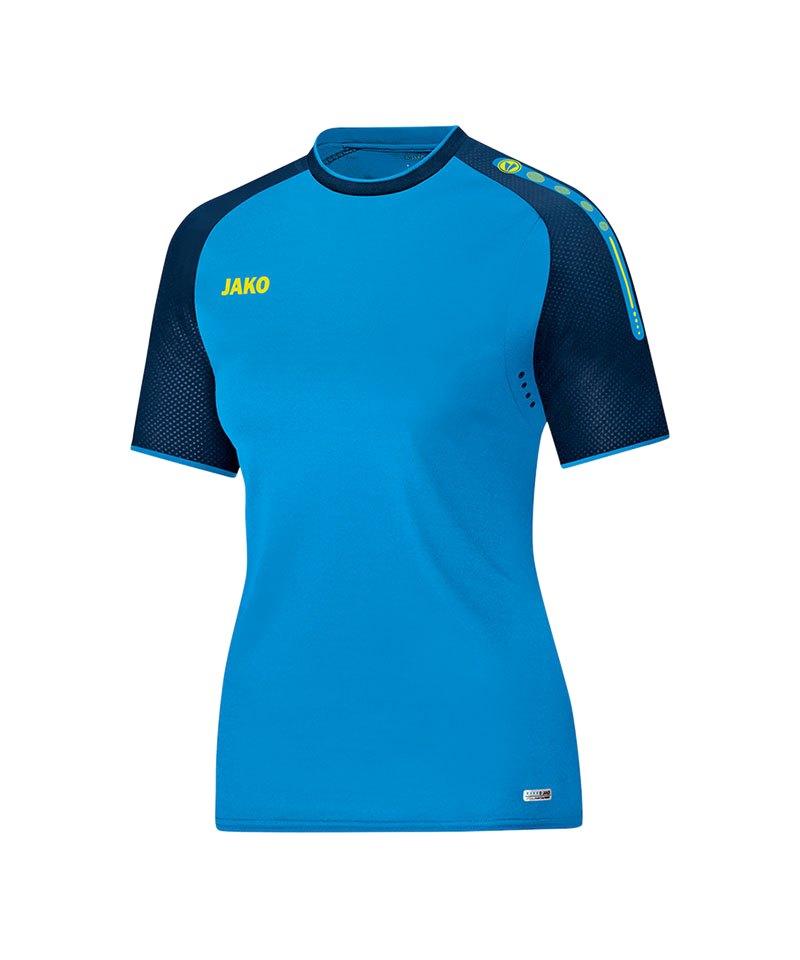 Jako T-Shirt Champ Damen Blau Gelb F89 - blau