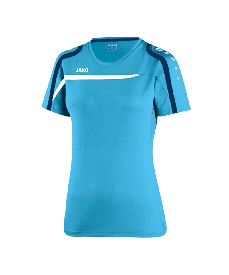 Jako T-Shirt Performance Damen F45 Blau Weiss - blau