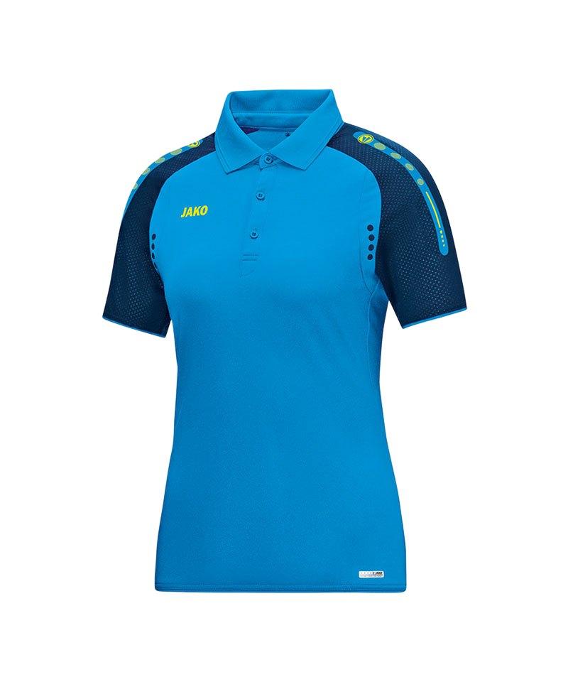 Jako Poloshirt Champ Damen Blau Gelb F89 - blau