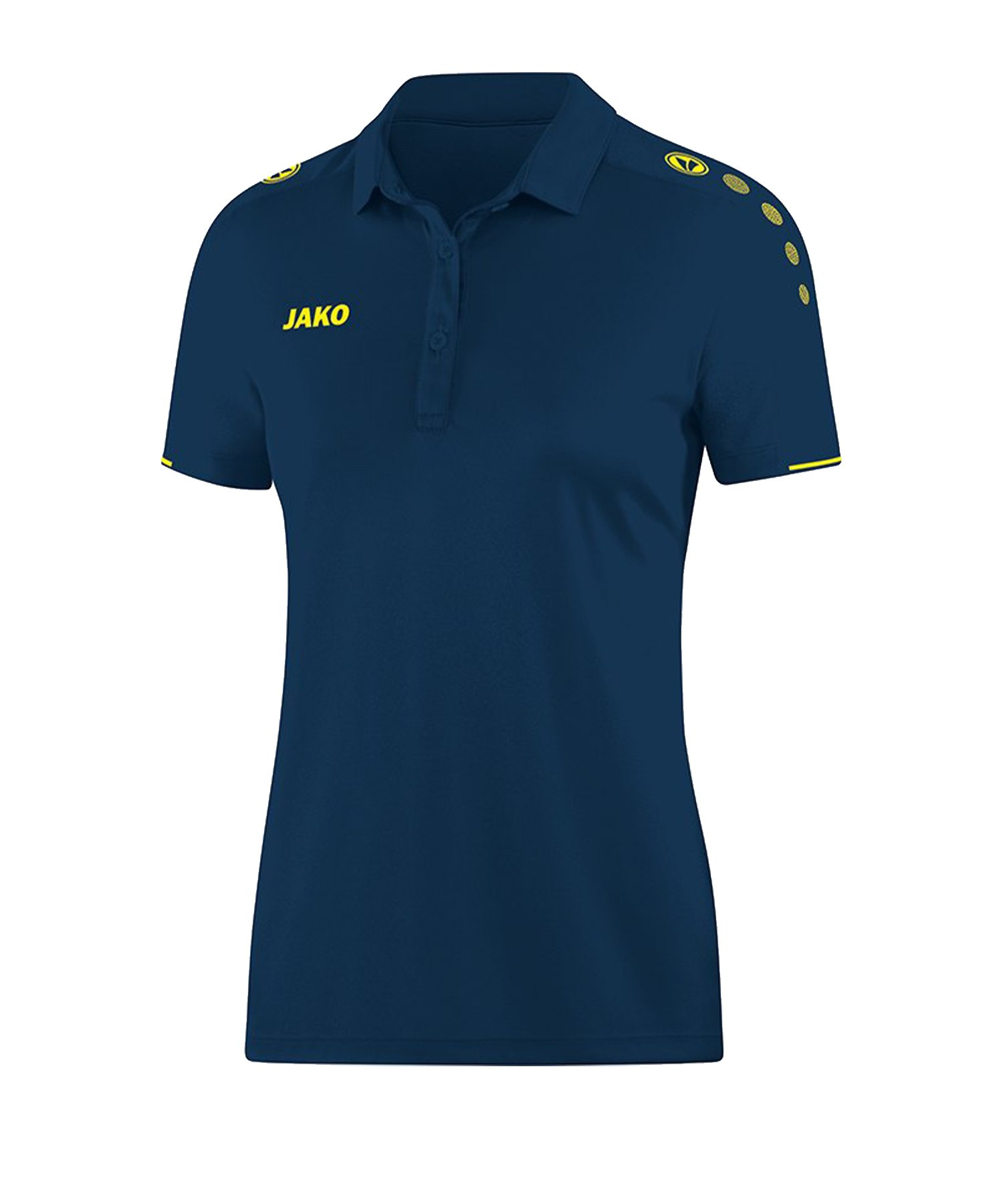 Jako Classico Poloshirt Damen Blau Gelb F42 - Blau