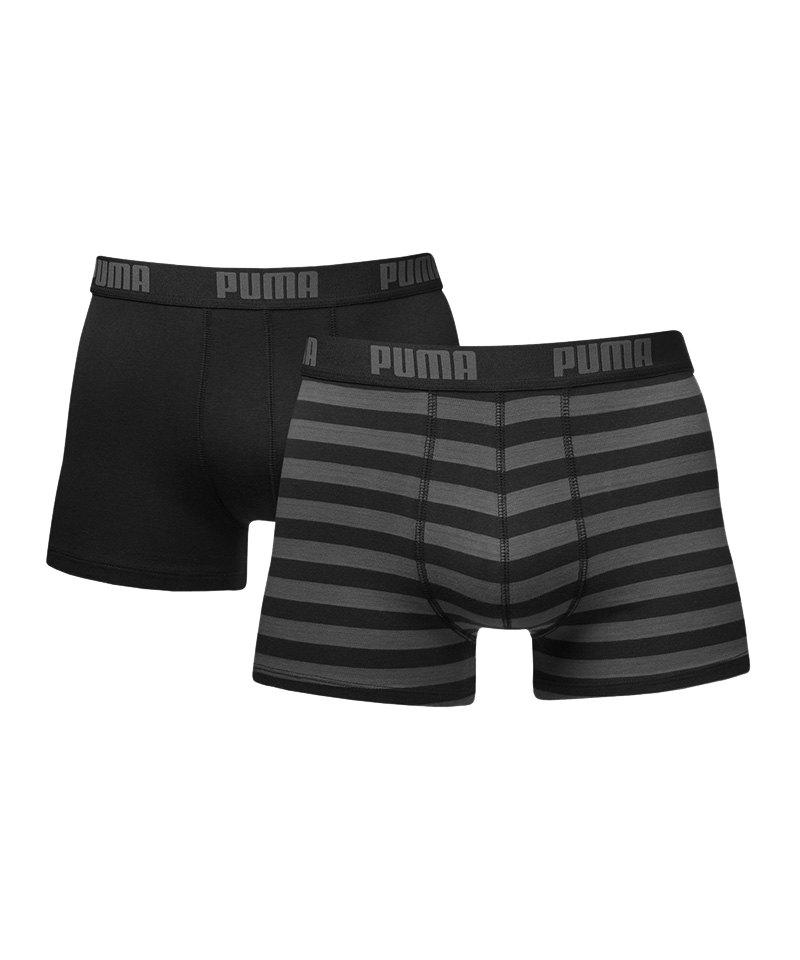 PUMA Stripe Boxer 2er Pack F200 Schwarz - schwarz