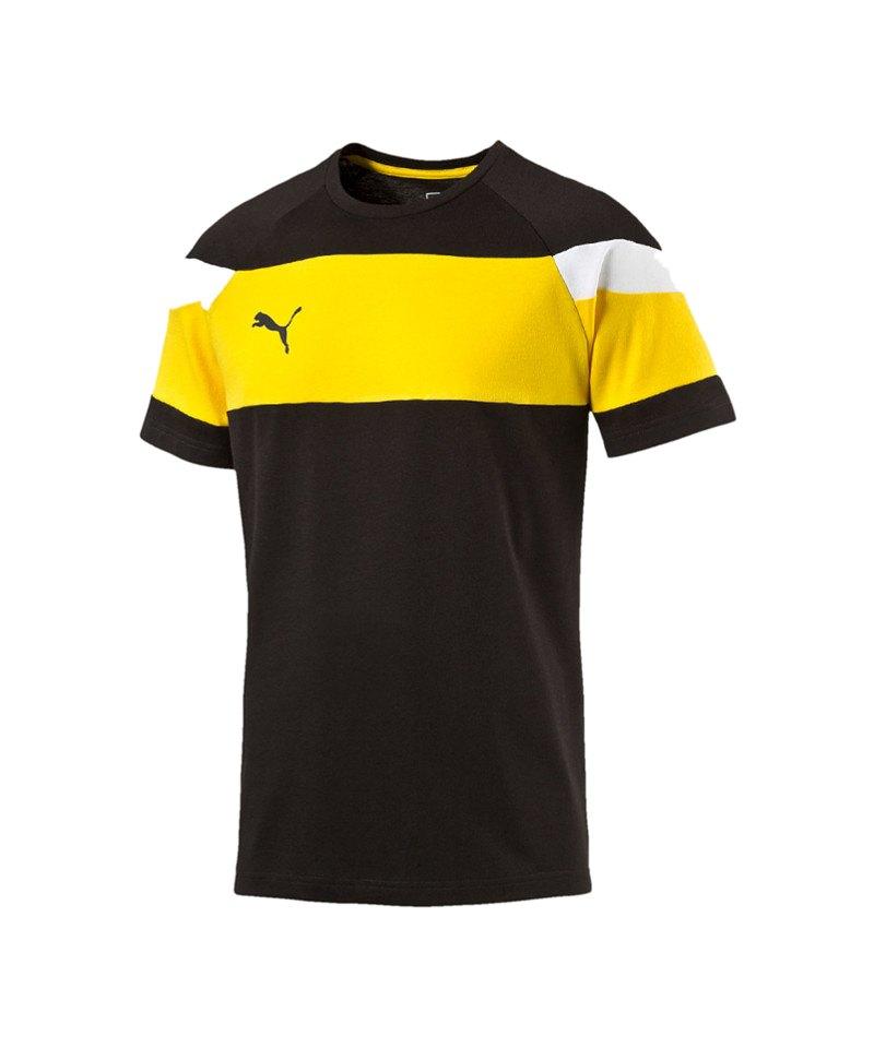 PUMA Leisure T-Shirt Spirit II Schwarz Gelb F37 - schwarz