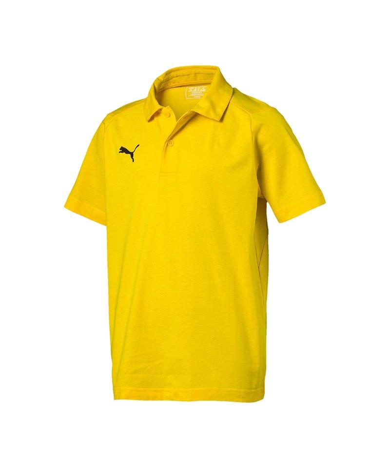PUMA LIGA Casuals Poloshirt Kids Gelb Weiss F07 - gelb