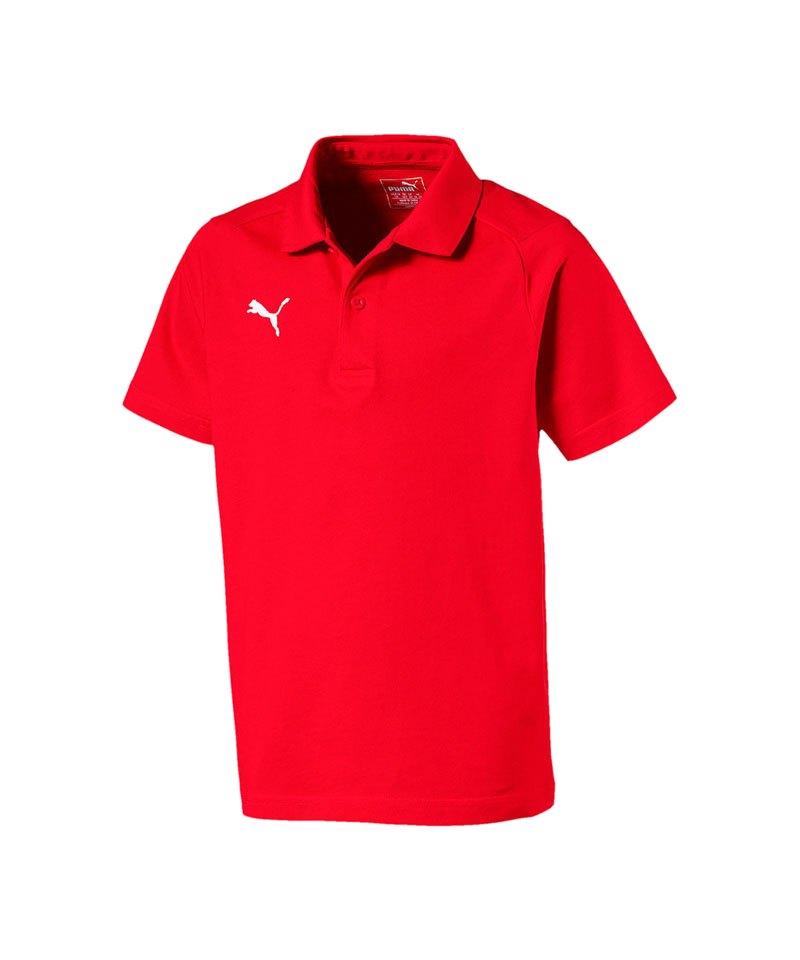 PUMA LIGA Casuals Poloshirt Kids Rot Weiss F01 - rot