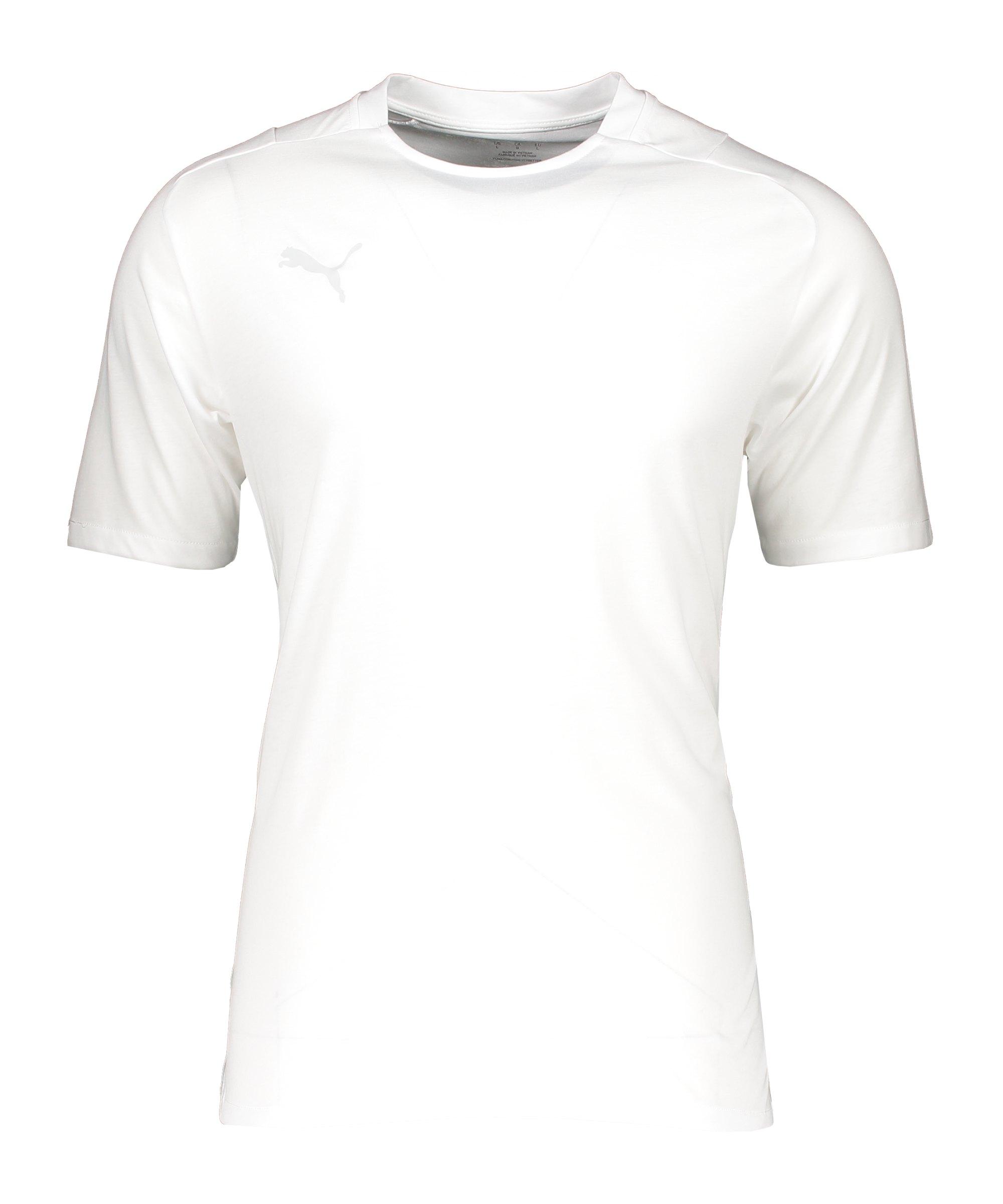 PUMA teamCUP Casuals T-Shirt Weiss Grau F04 - weiss