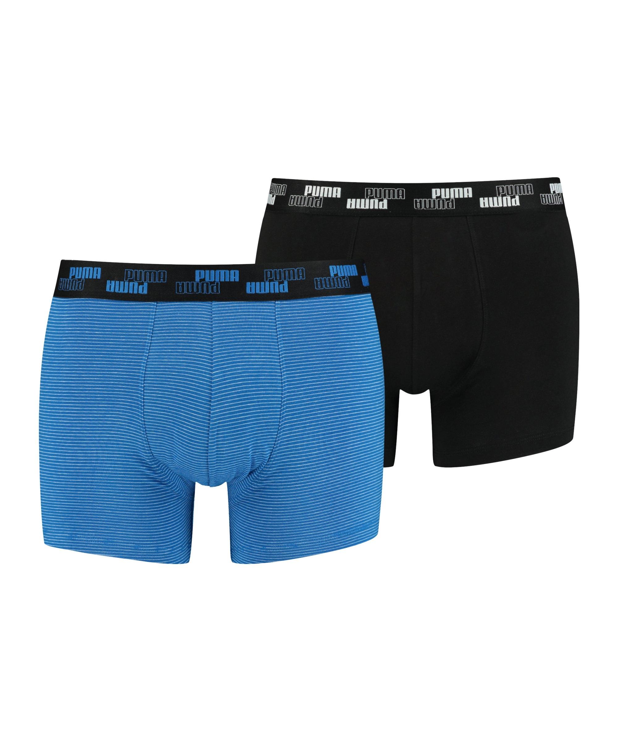 PUMA Mini Stripe Boxer 2er Pack Blau F002 - blau