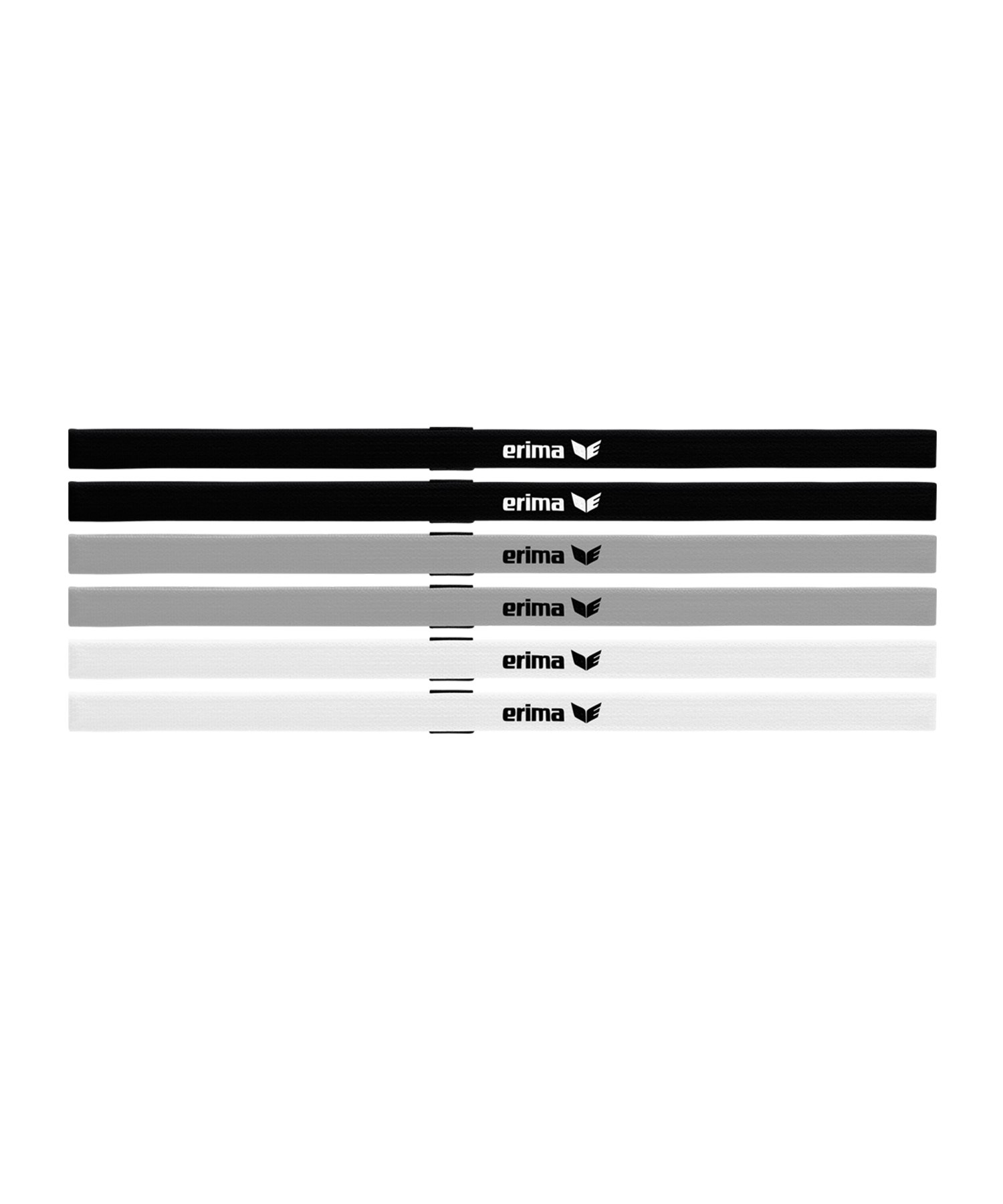 Erima Haarband Black Series 6er Set Schwarz Grau - schwarz