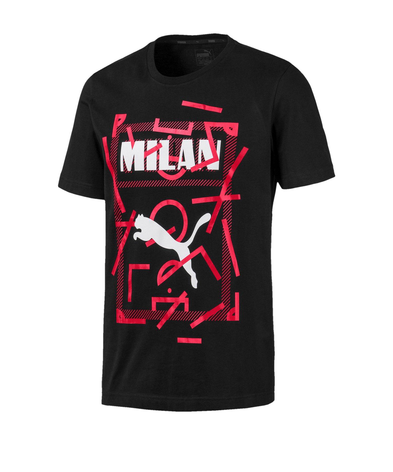 PUMA AC Mailand DNA T-Shirt Schwarz Rot F03 - Schwarz