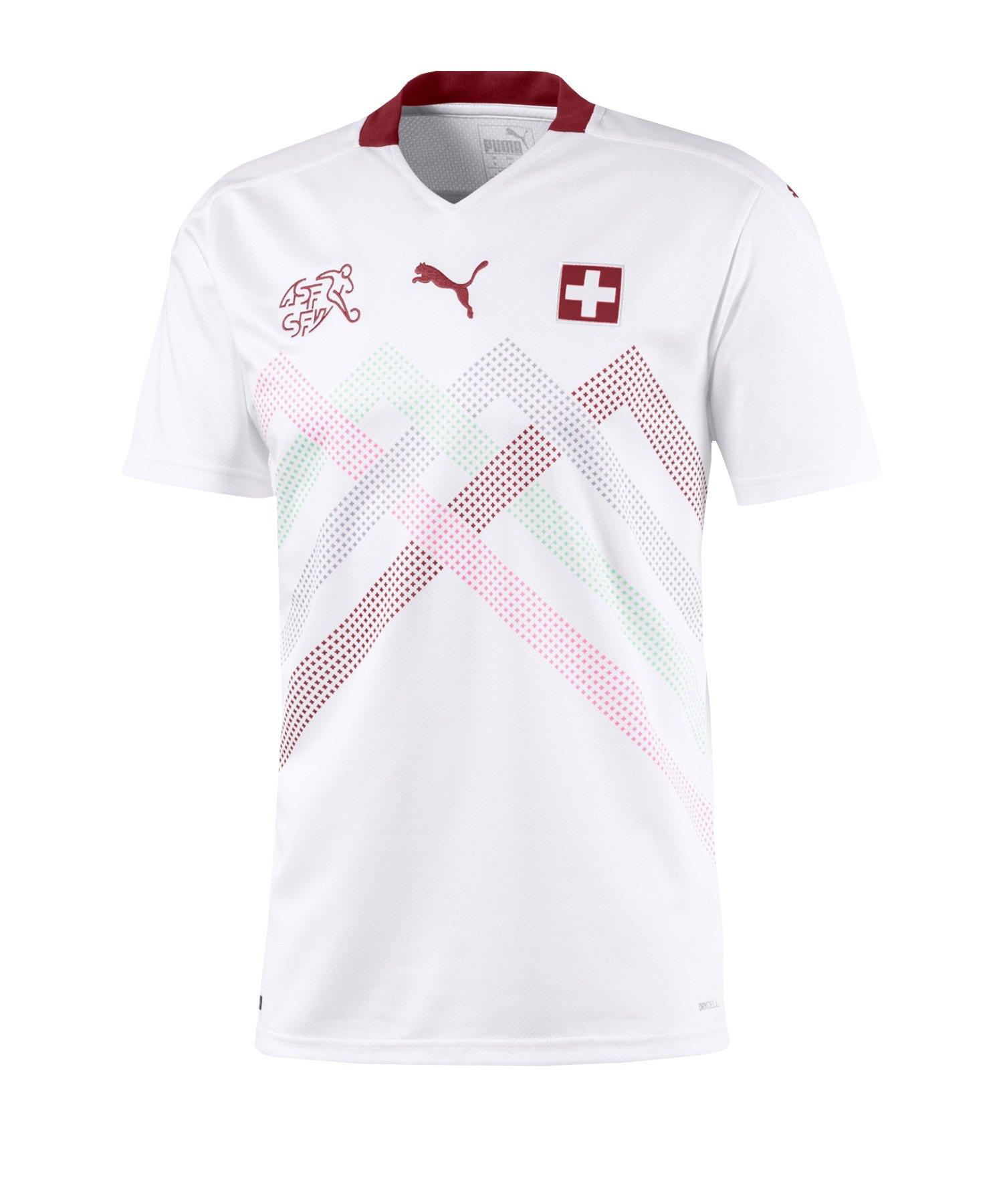 PUMA Schweiz Trikot Away EM 2021 Weiss Rot F02 - weiss