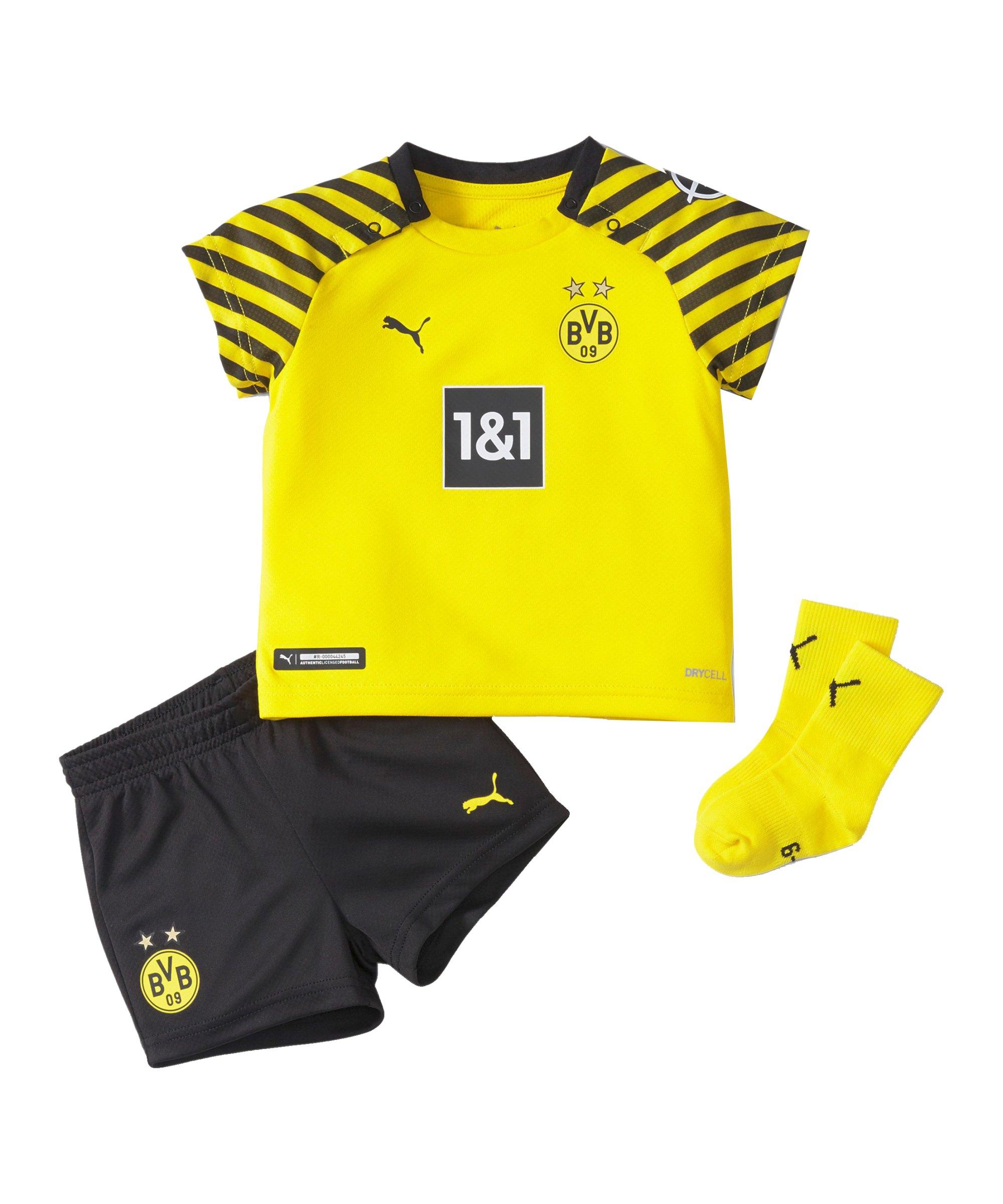 PUMA BVB Dortmund Babykit Home 2021/2022 Gelb Schwarz F01 - gelb