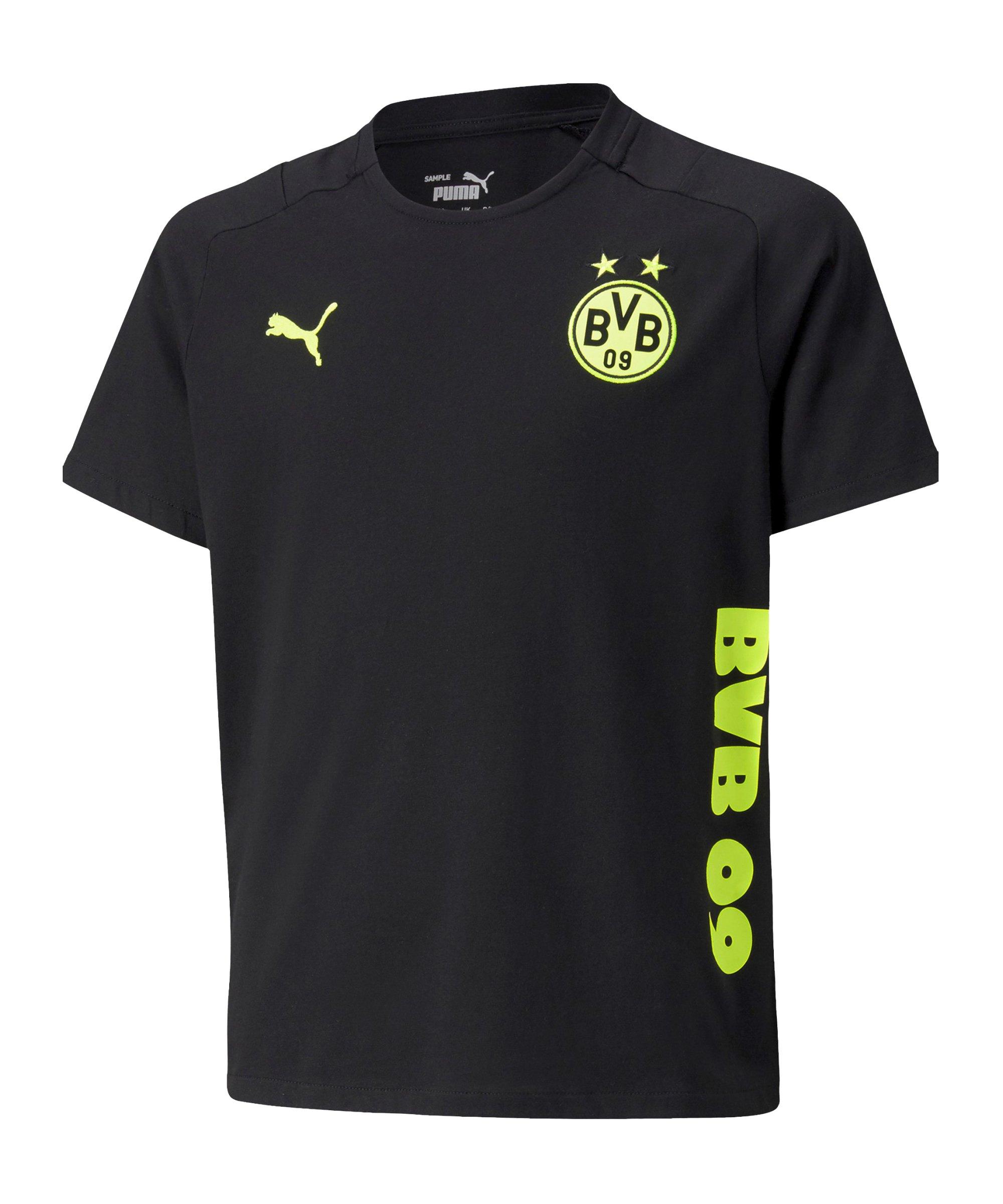 PUMA BVB Dortmund Casuals T-Shirt Kids Schwarz F05 - schwarz
