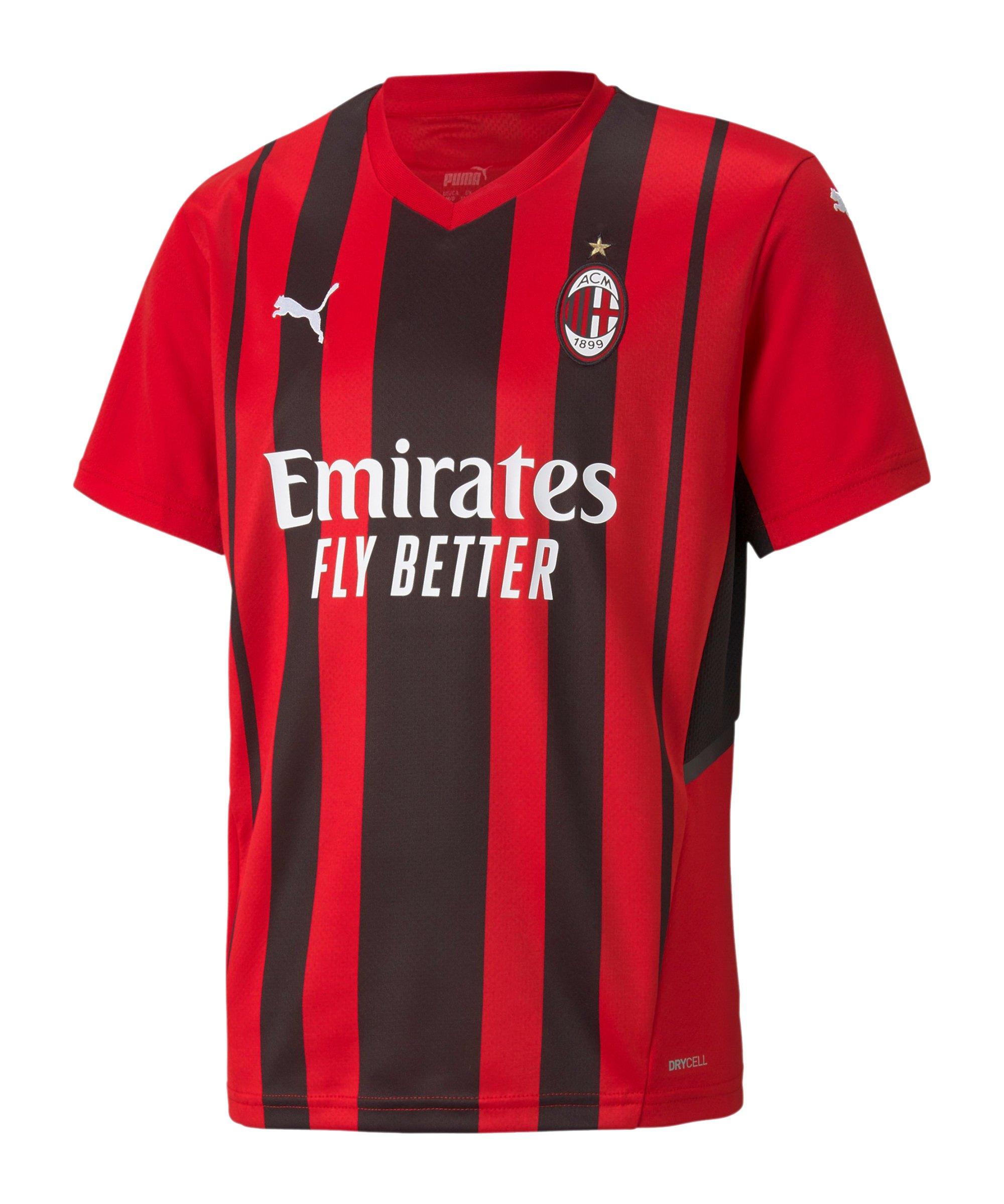 PUMA AC Mailand Trikot Home Kids 2021/2022 Rot Schwarz F01 - rot