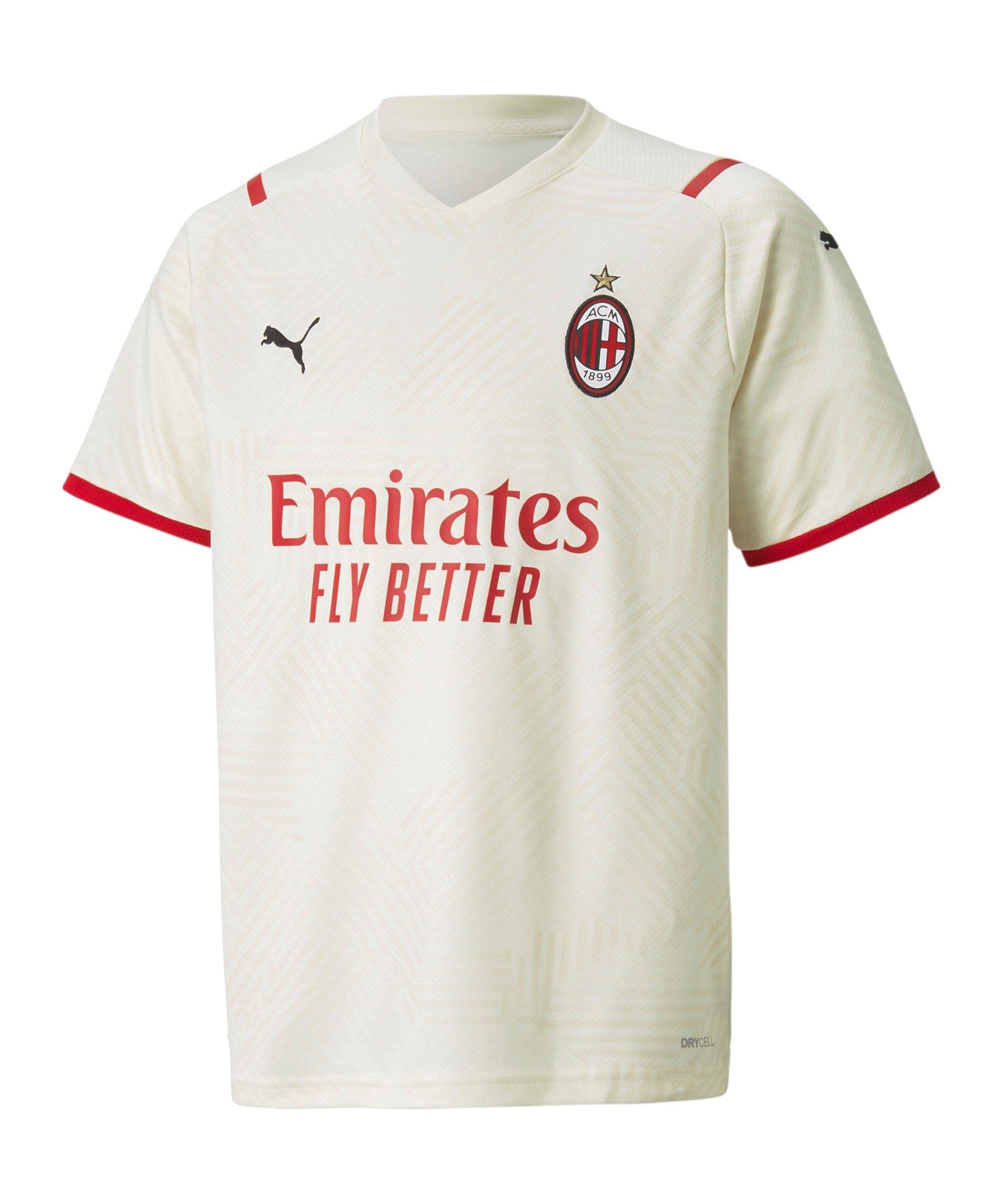 PUMA AC Mailand Trikot Away 2021/2022 Kids Beige Rot F02 - beige