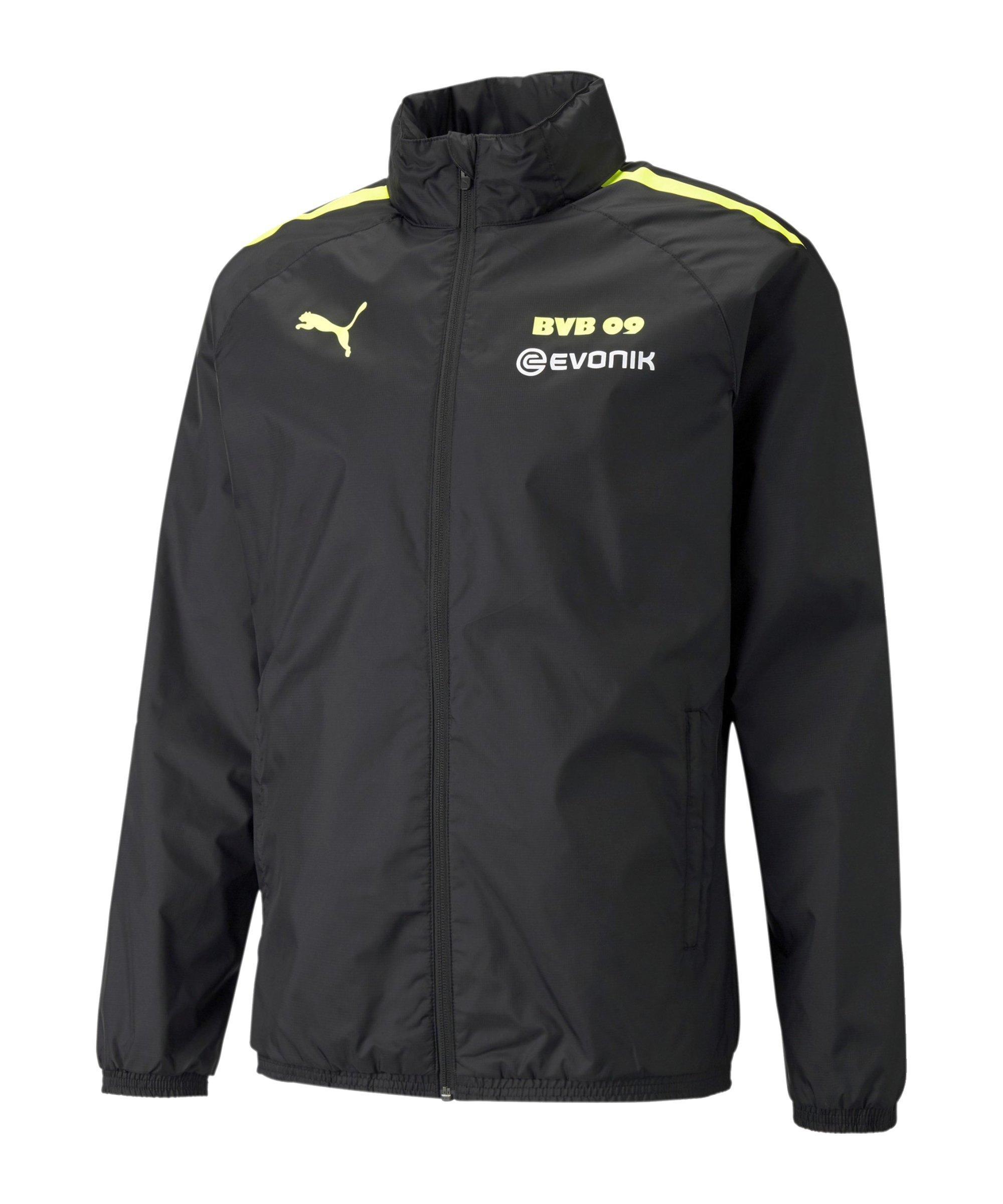 PUMA BVB Dortmund Regenjacke mit Sponsor F05 - schwarz