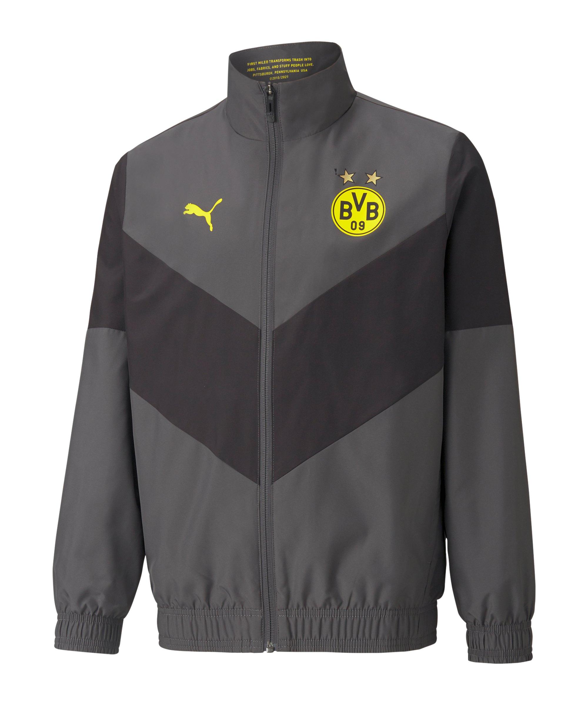 PUMA BVB Dortmund Prematch Jacke Kids 2021/2022 Grau F04 - grau