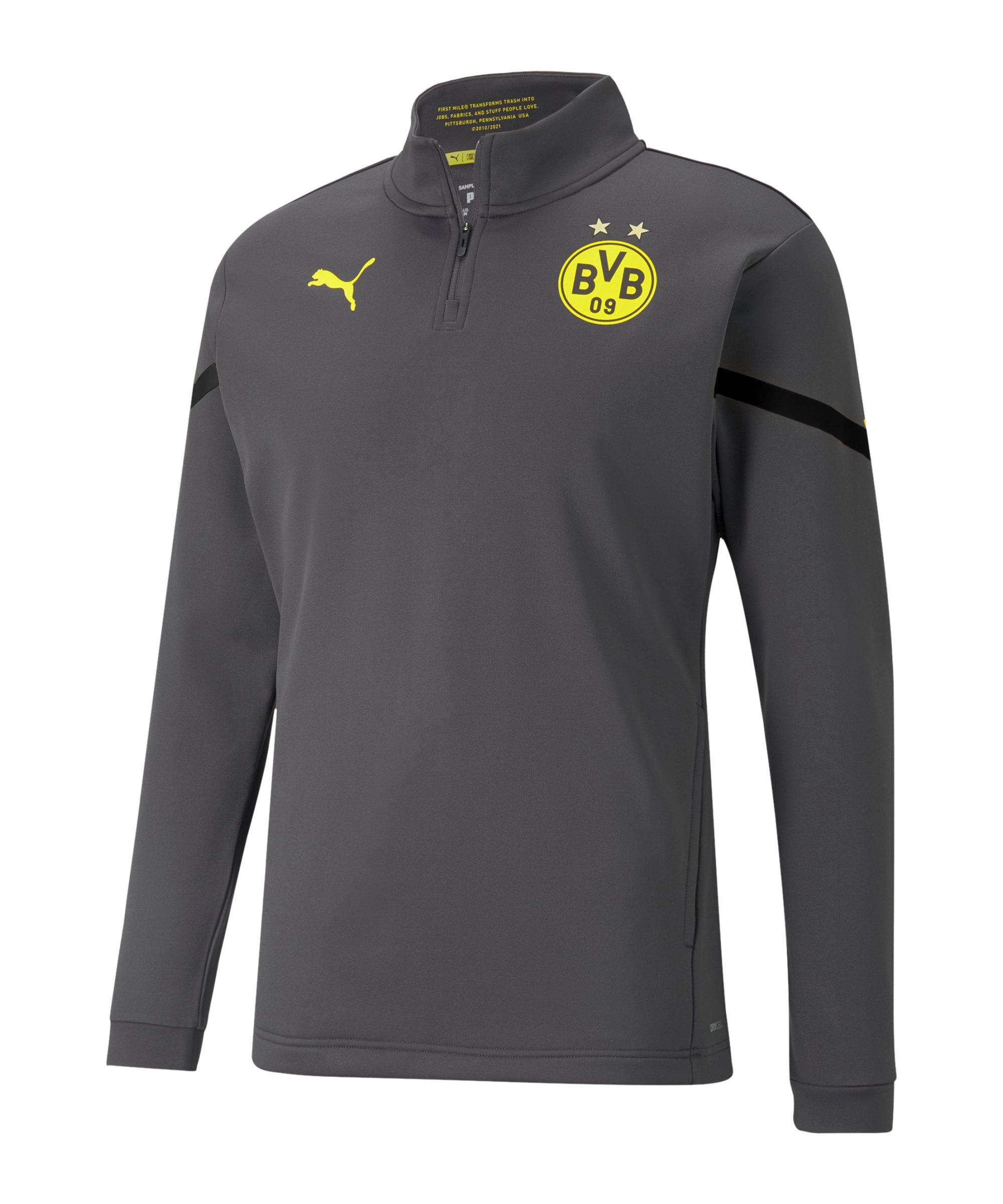 PUMA BVB Dortmund Prematch 1/4 Ziptop 2021/2022 Grau F04 - grau