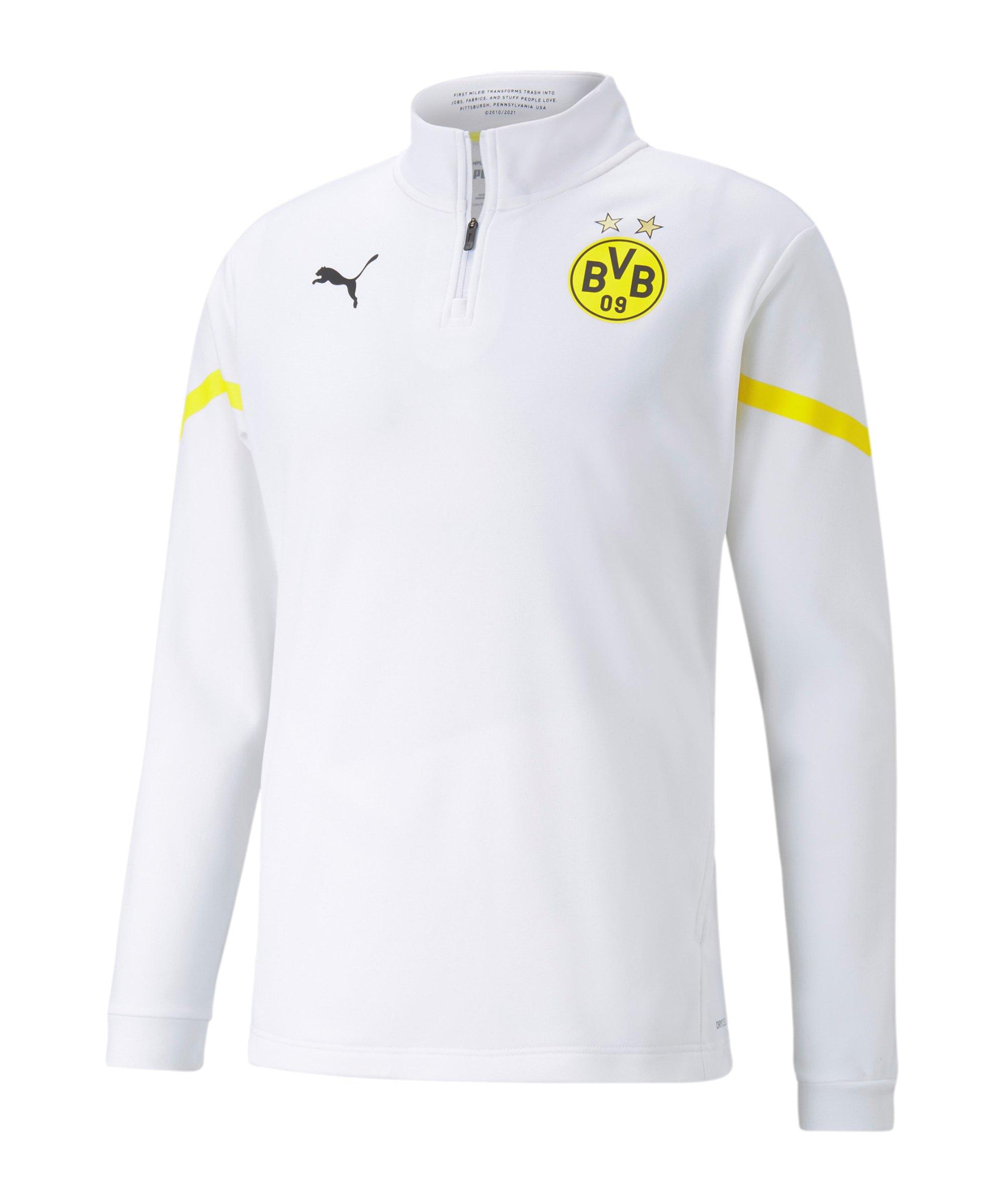 PUMA BVB Dortmund Prematch HalfZip Sweatshirt 2021/2022 Weiss Gelb F08 - weiss