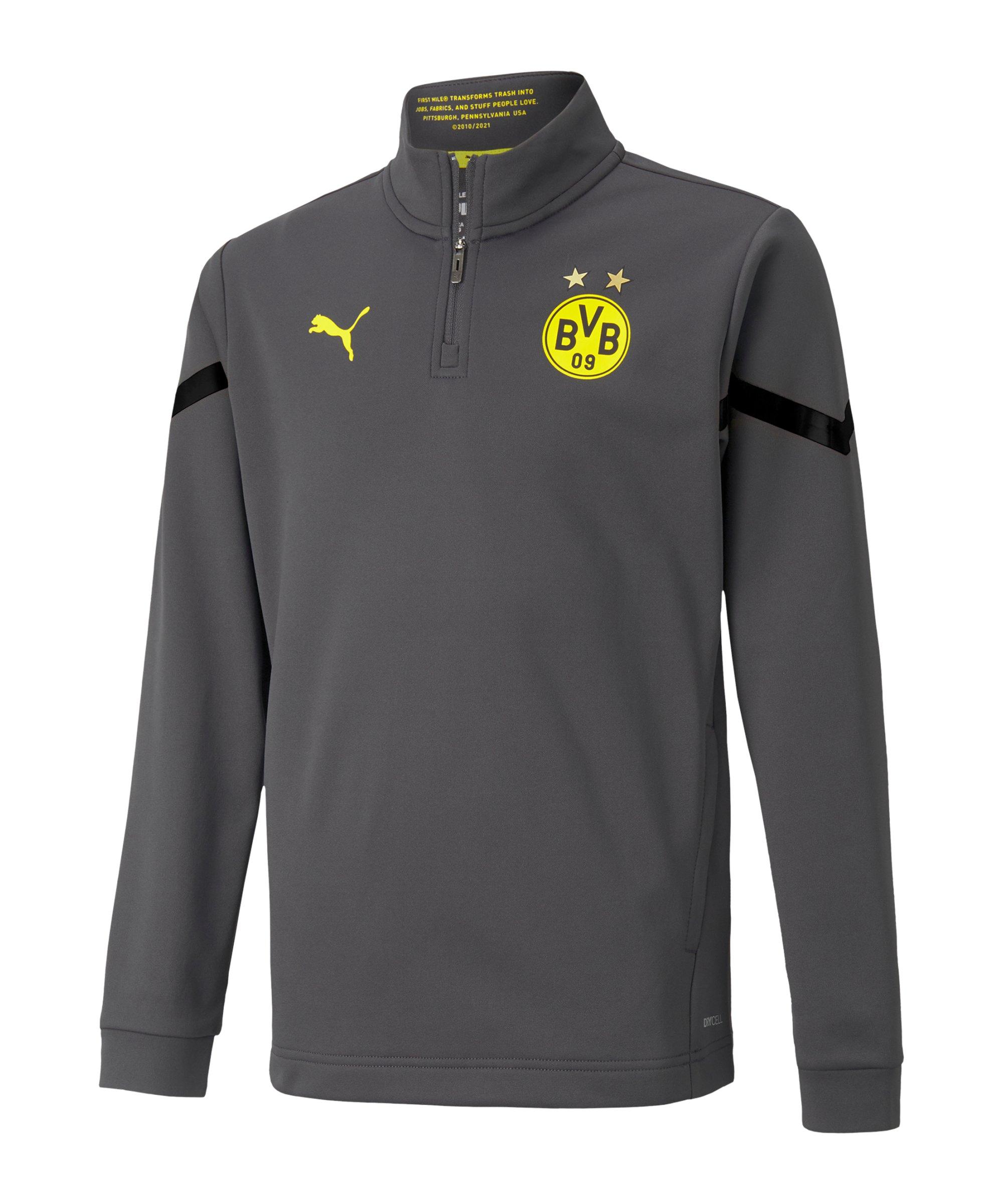 PUMA BVB Dortmund Prematch 1/4 Ziptop 2021/2022 Kids Grau F04 - grau