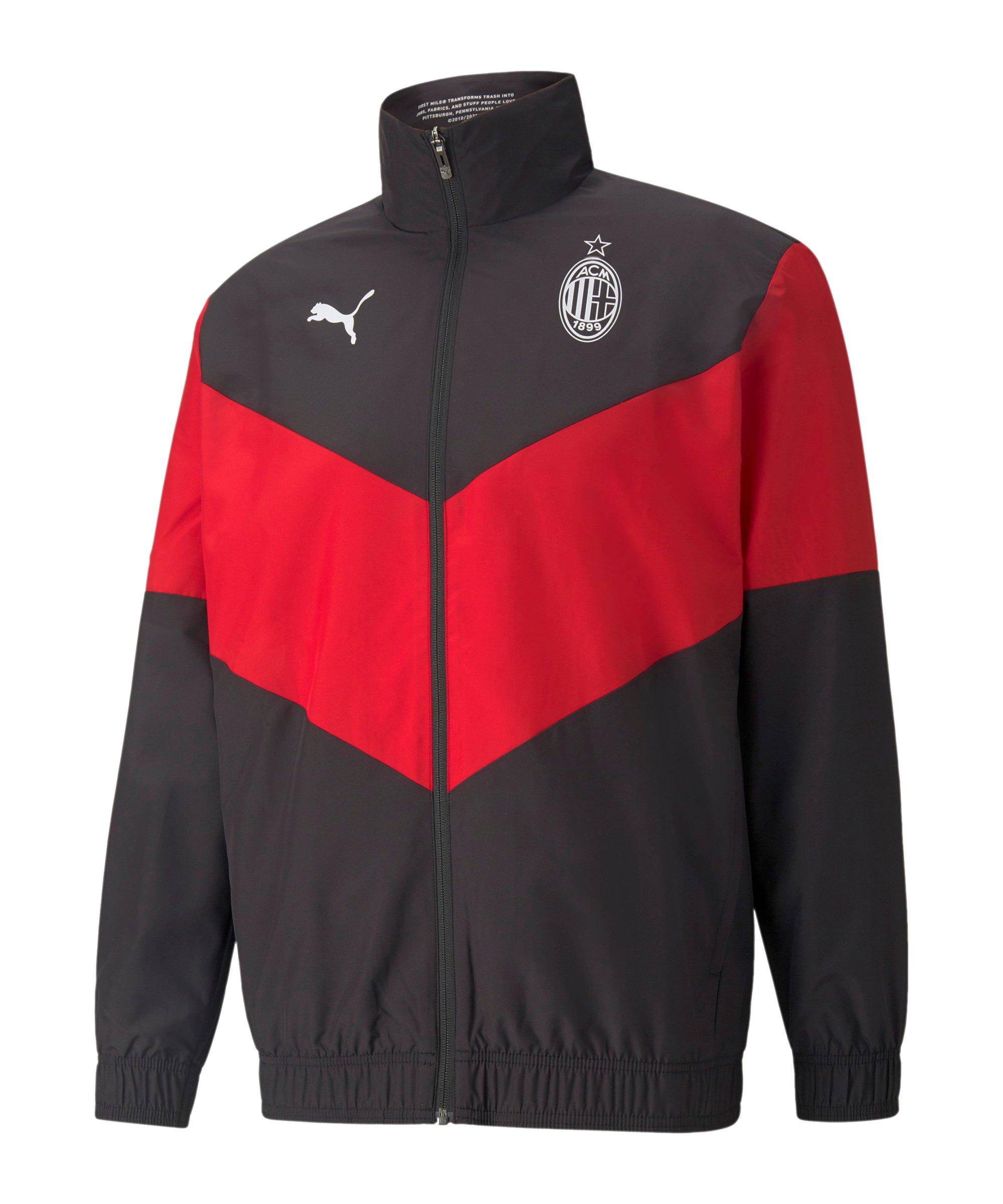 PUMA AC Mailand Prematch Jacke 2021/2022 Schwarz Rot F05 - schwarz
