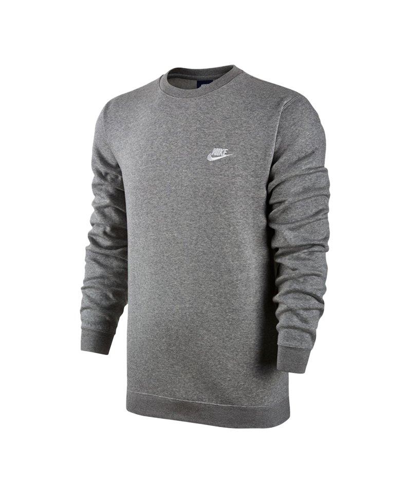 Nike Crew Fleece Sweatshirt Grau Weiss F063 - grau