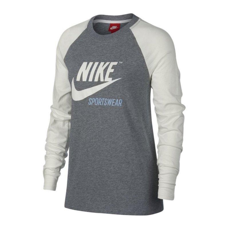 Nike Tee Sweatshirt Damen Grau Weiss F091 - grau