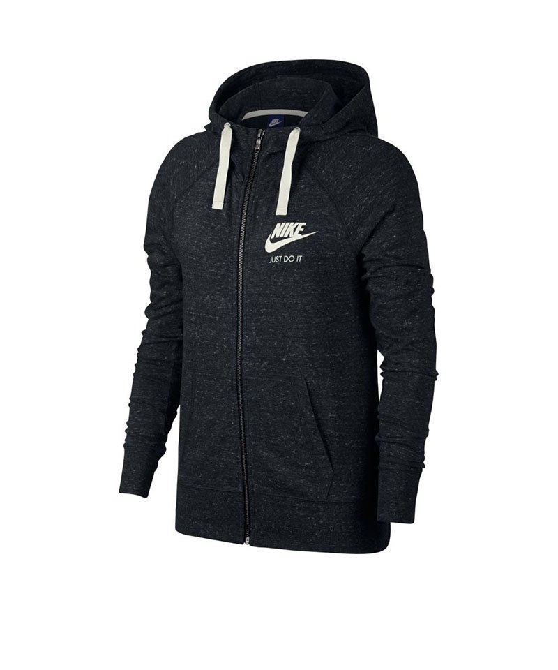 Nike Hoody Gym Vintage Fullzip Damen Schwarz F010 - schwarz