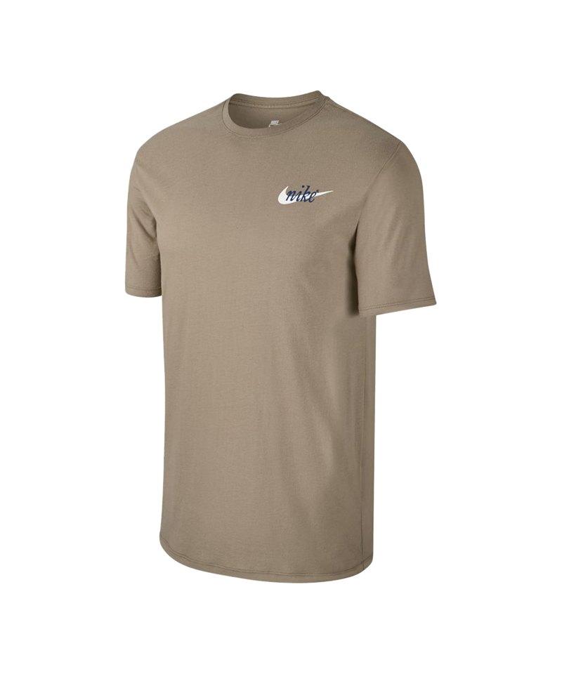 Nike Tee T-Shirt Khaki Blau F235 - khaki