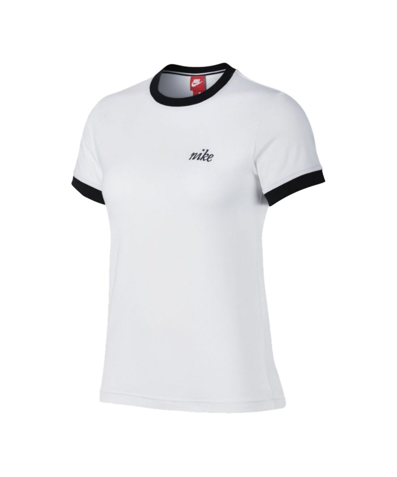 Nike Top Ringer T-Shirt Damen Weiss Schwarz F100 - weiss
