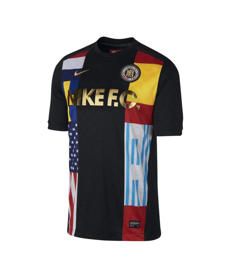 Nike F.C. T-Shirt Schwarz Gelb F011 - schwarz