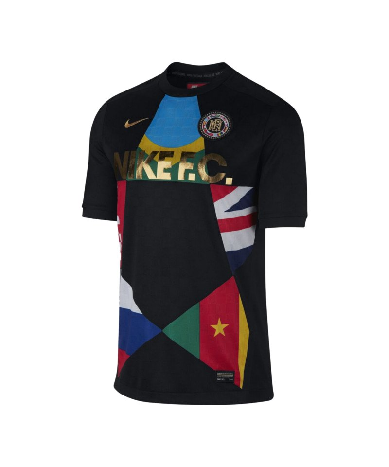 Nike F.C. T-Shirt Schwarz Rot F014 - schwarz