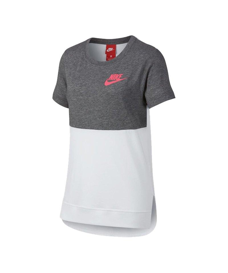 Nike T-Shirt Kids Grau Weiss F091 - grau