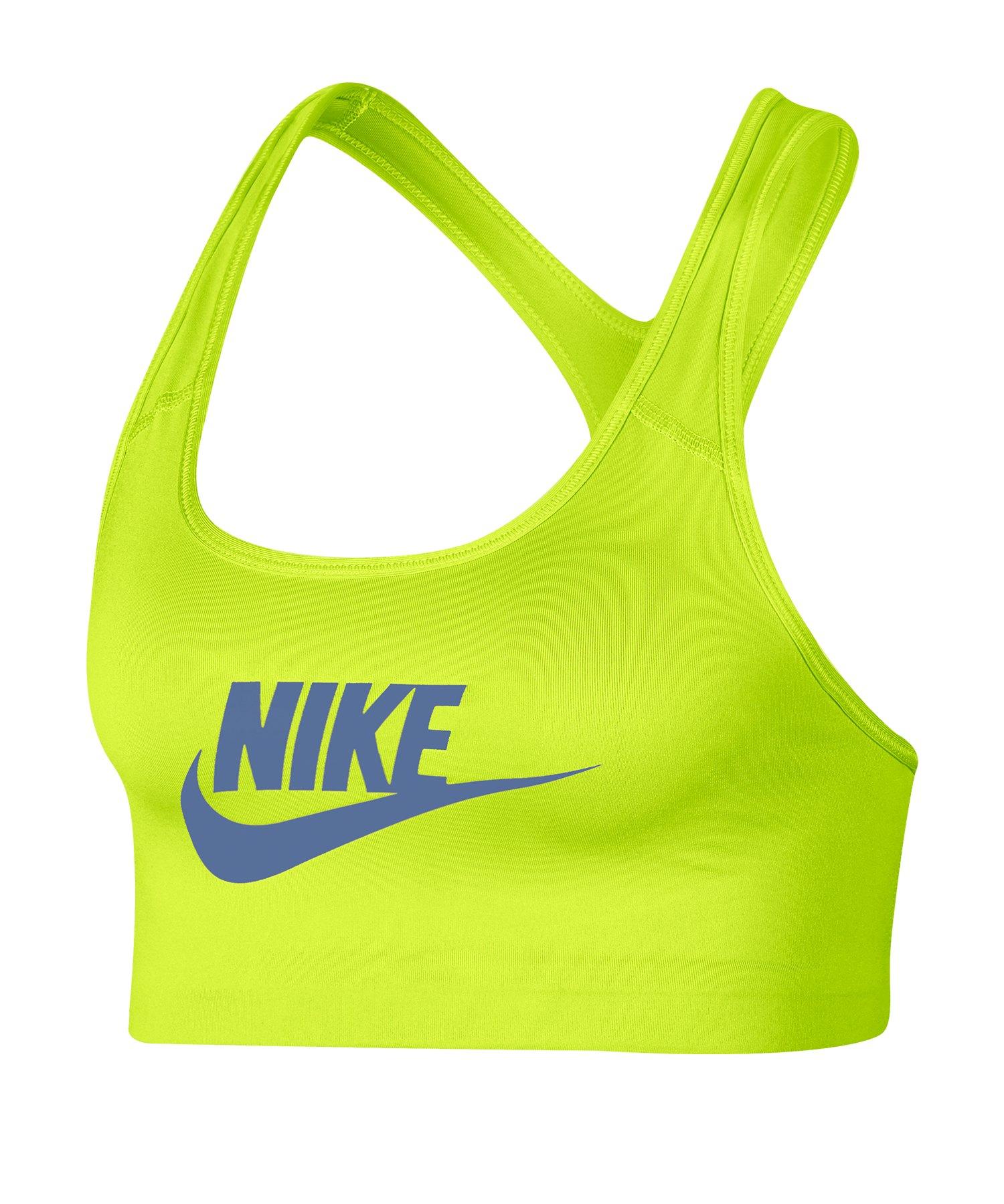 Nike Swoosh Futura Bra Sport-BH Gelb F389 - Gruen