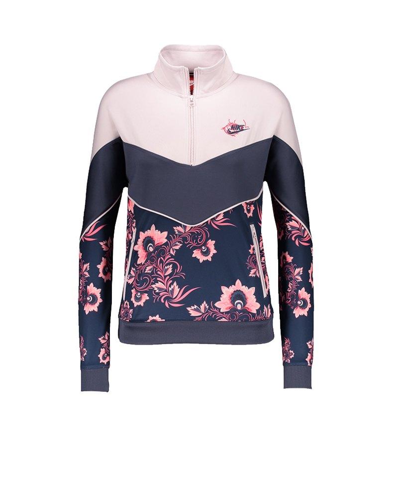 Nike 1/2 Zip Sweatshirt Damen Rosa Blau F477 - rosa