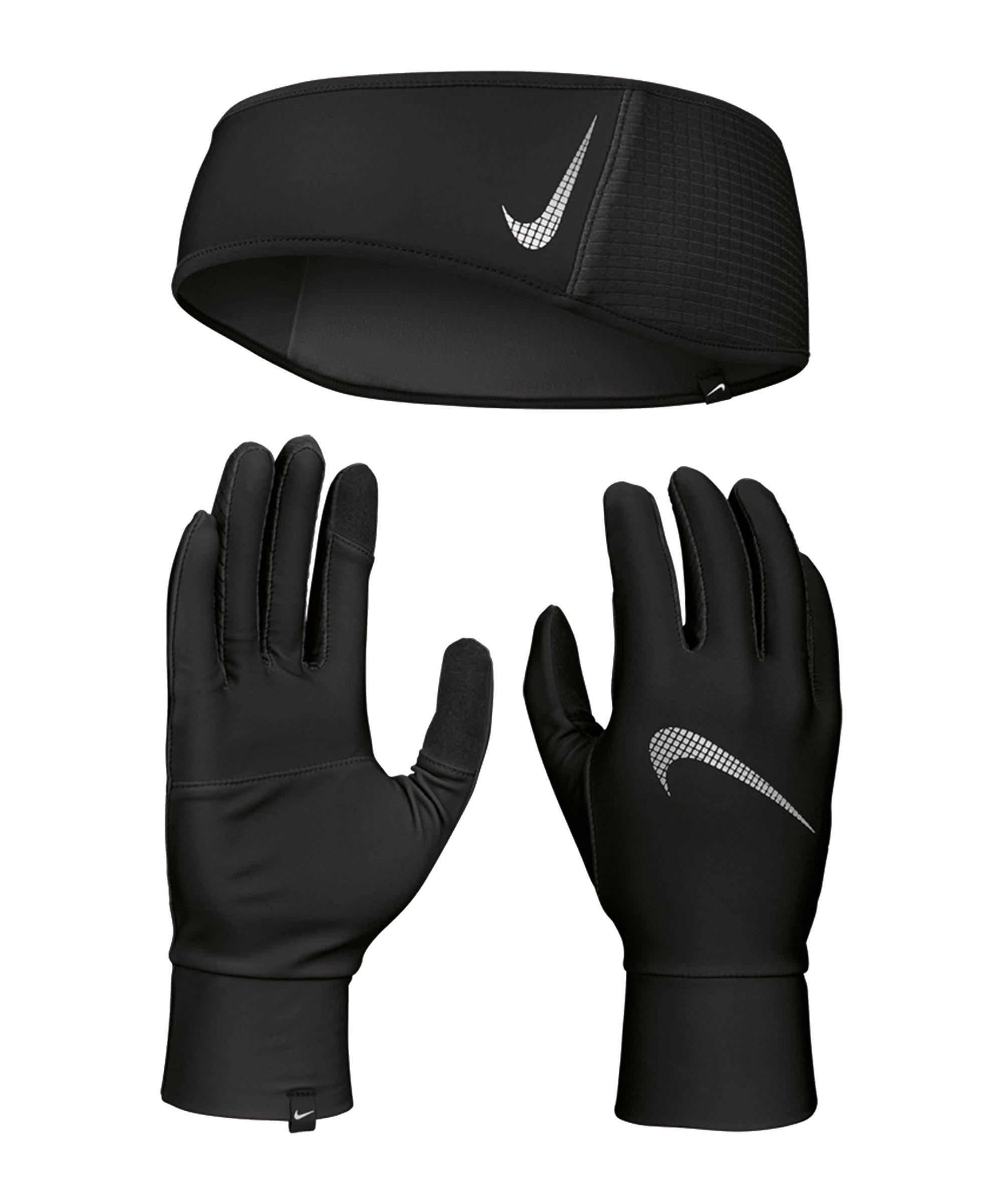 Nike Essential Stirnband und Handschuh Set F082 - schwarz