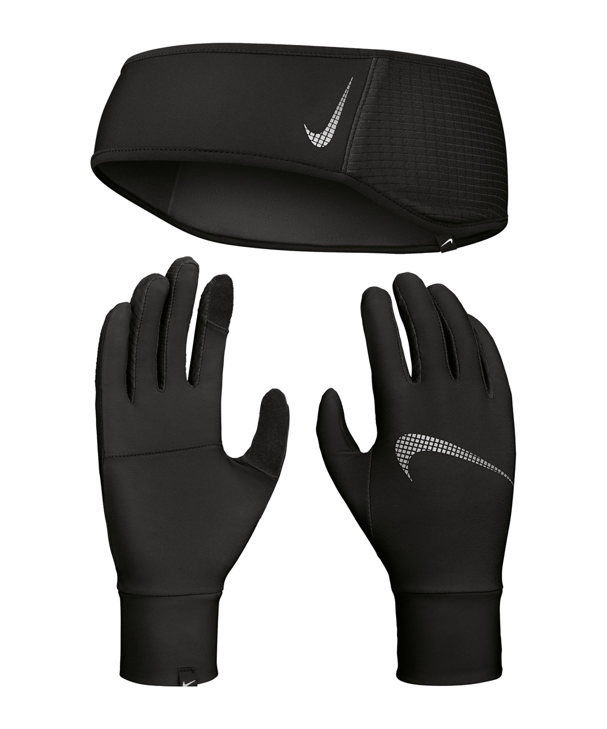 Nike Essential Stirnband Handschuh Set Damen F082 - schwarz