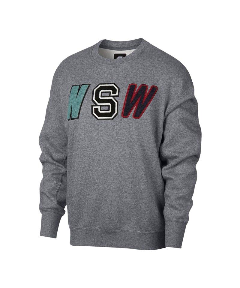 Nike Crew Fleece Sweatshirt Grau F091 - grau