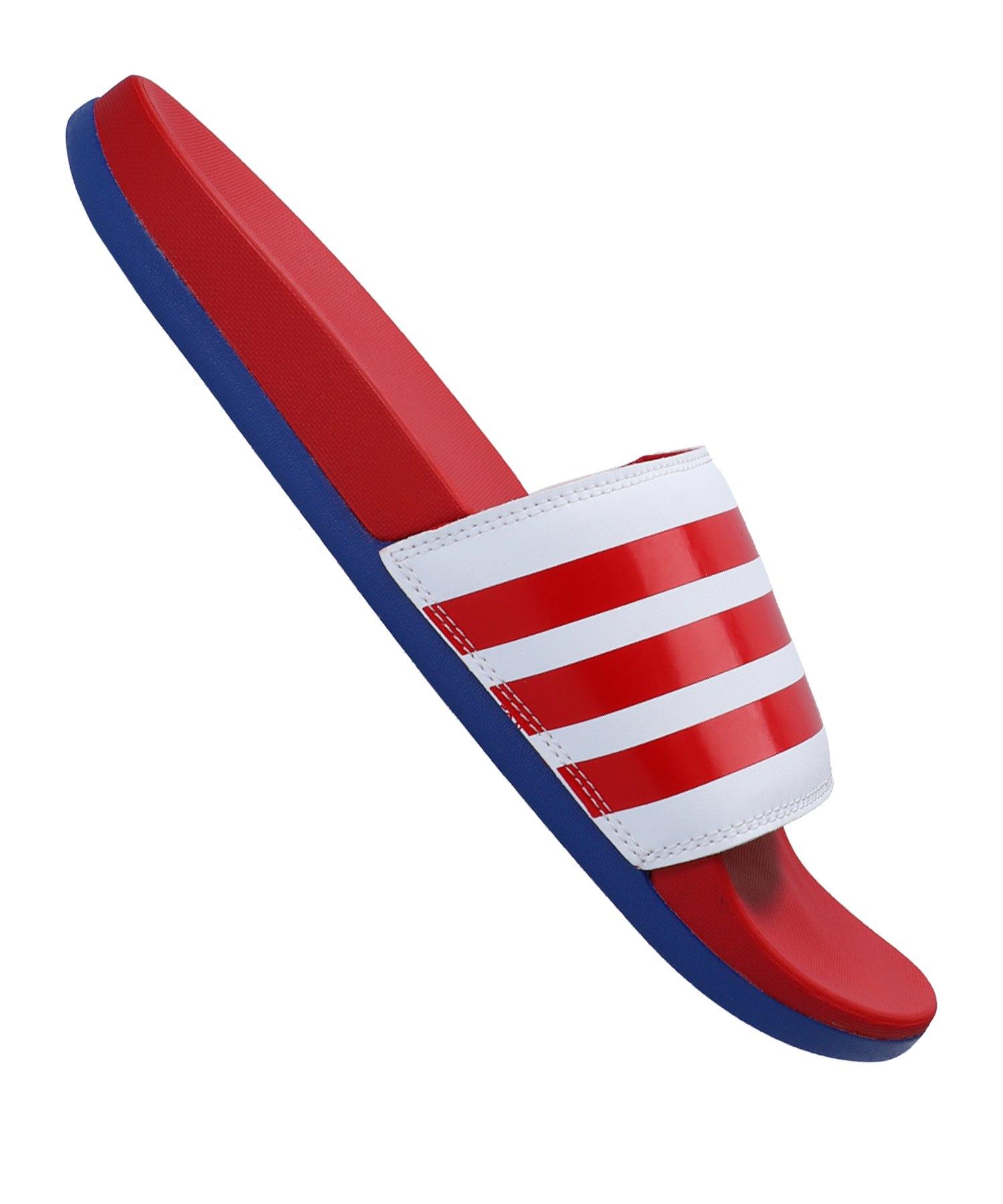 adidas Adilette Comfort Badelatsche Weiss Rot - weiss