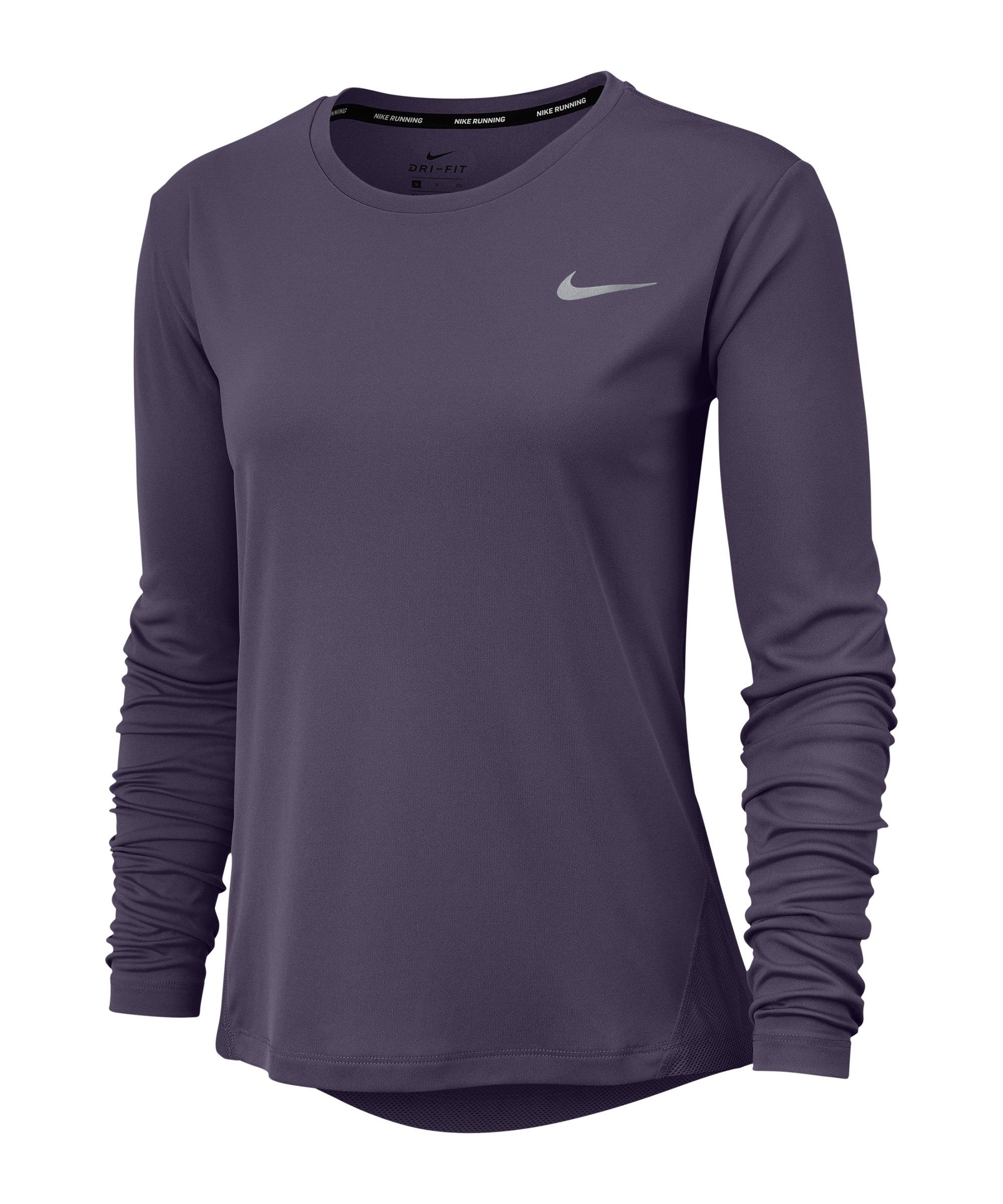 Nike Miler Shirt langarm Running Damen Lila F573 - lila