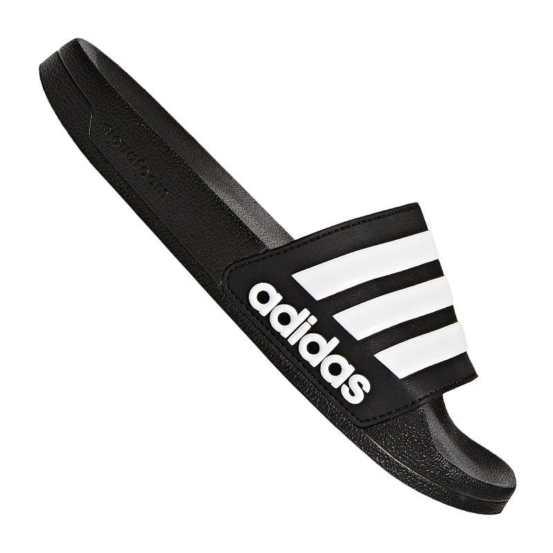 adidas CF Adilette Badelatsche Schwarz Weiss - schwarz