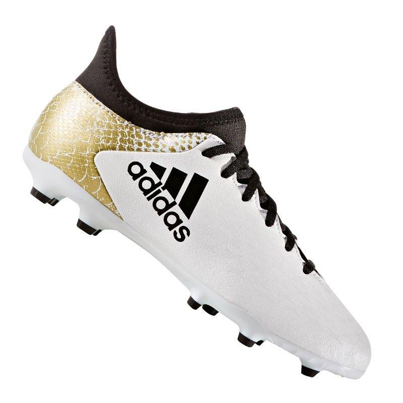 adidas FG X 16.3 J Kinder Weiss Gold - weiss